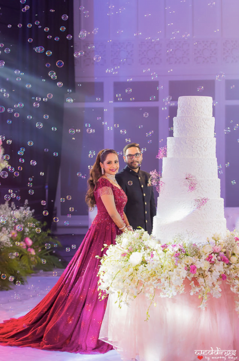 Beautiful Newly Wed Duo posing at their American Style Dusit Thani Hua Hin Wedding Reception in Thailand