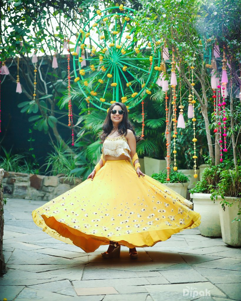 white tassel mehendi blouse with yellow lehenga