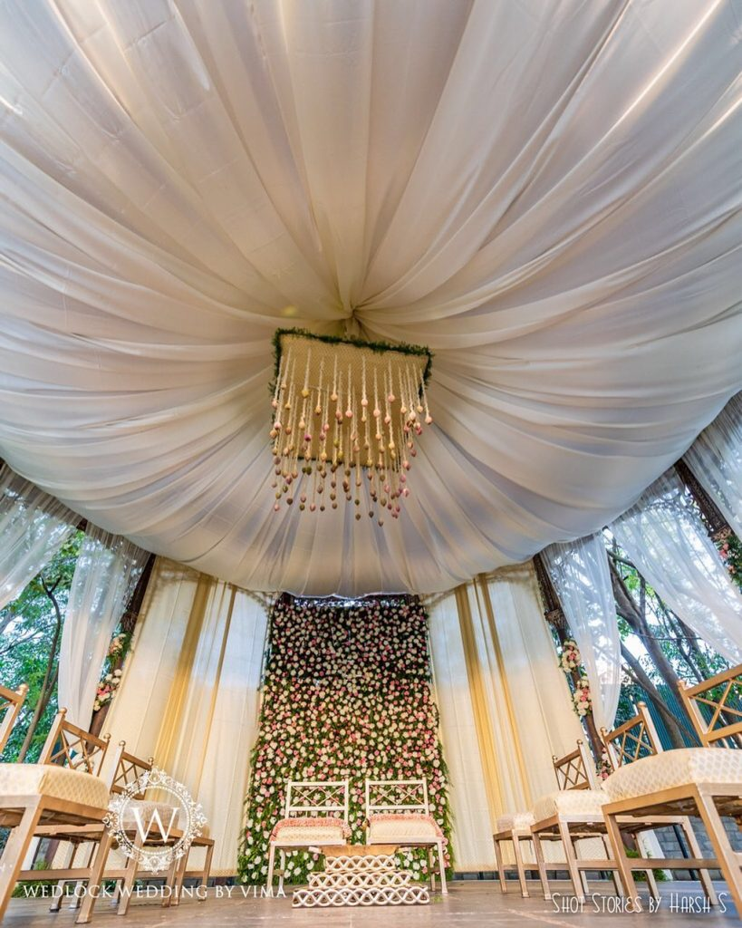 tent style white wedding vidhi mandap