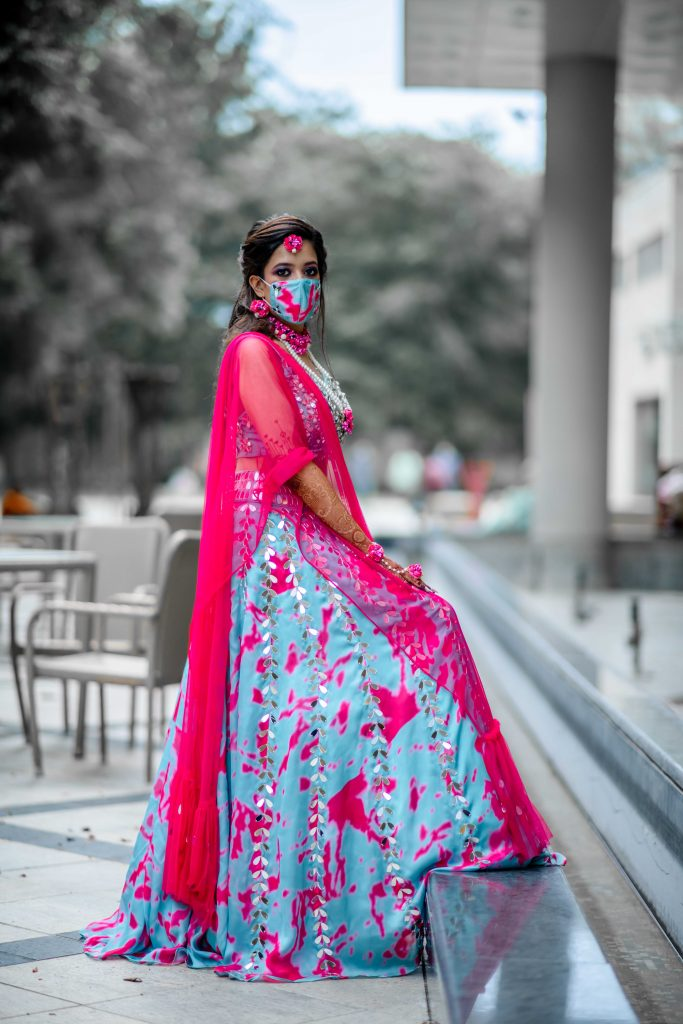 tie and dye blue pink mehendi function dress code bride