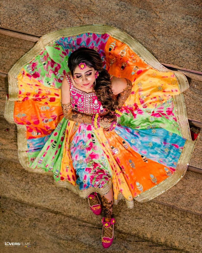 Multicolored color block and tie-dyed lehenga with mirror embellishments