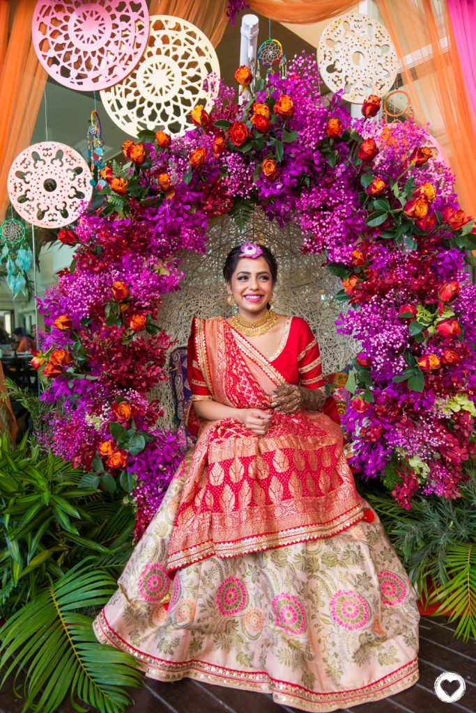 red silk traditional banarasi mehndi outfits for bride