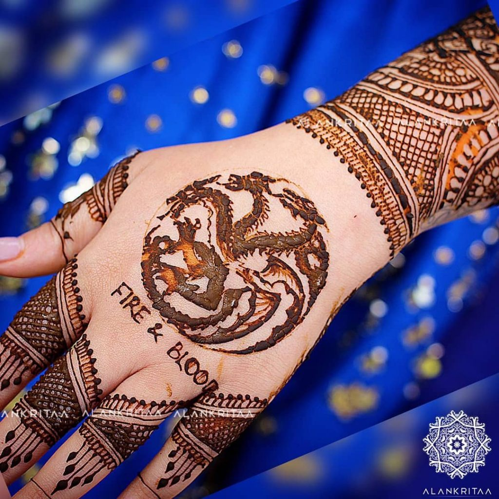 Game of Thrones back hand mehndi design for brides