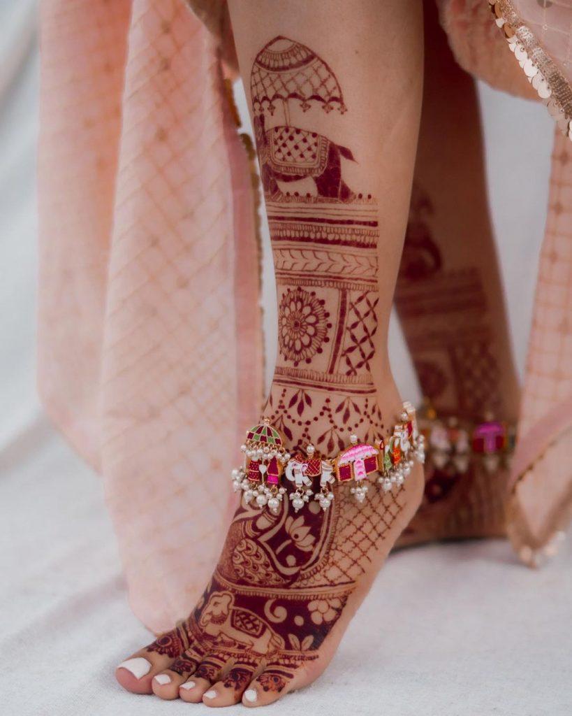 Elephant Motif Marriage Mehendi Design for 2020