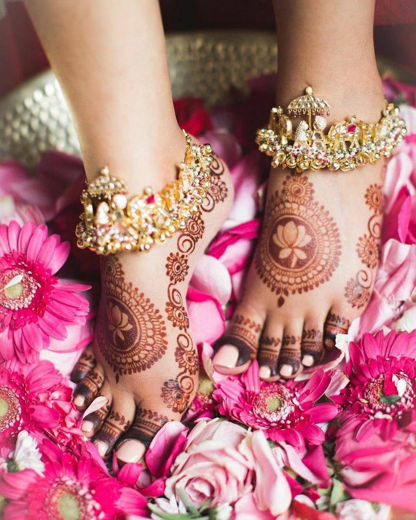 Lotus mandala mehendi design for feet