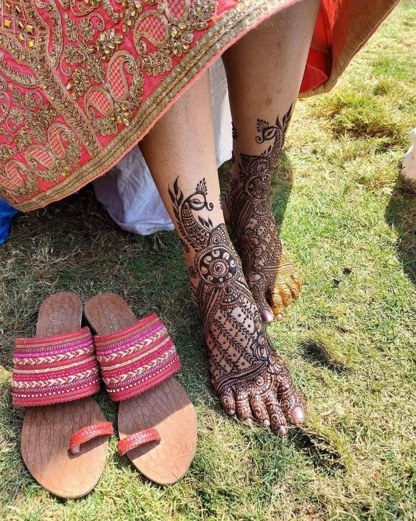 Leafed Gridwork Feet Bridal Mehndi Design With Peacock Motif