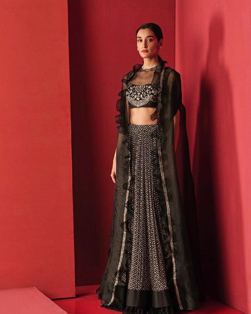 black lehenga choli with long net jacket