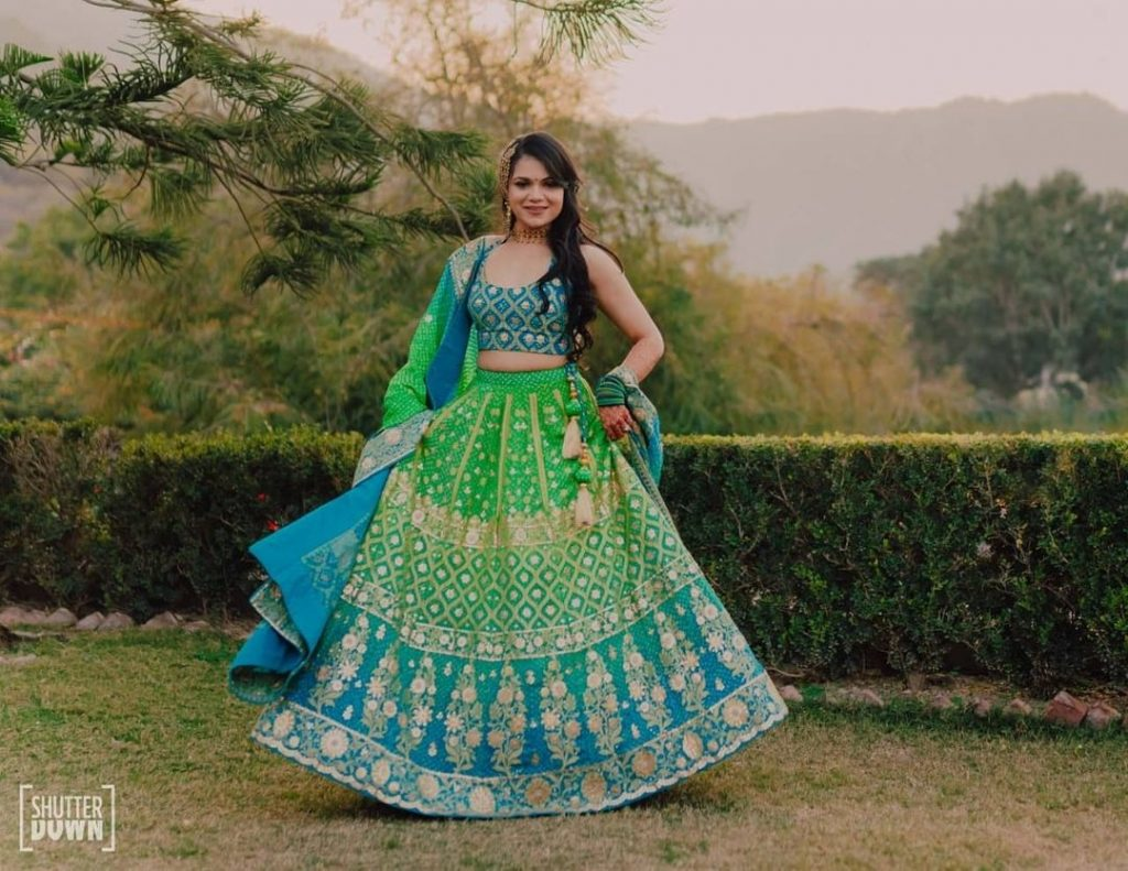 gradient blue and green Lehenga Colour Combinations for wedding