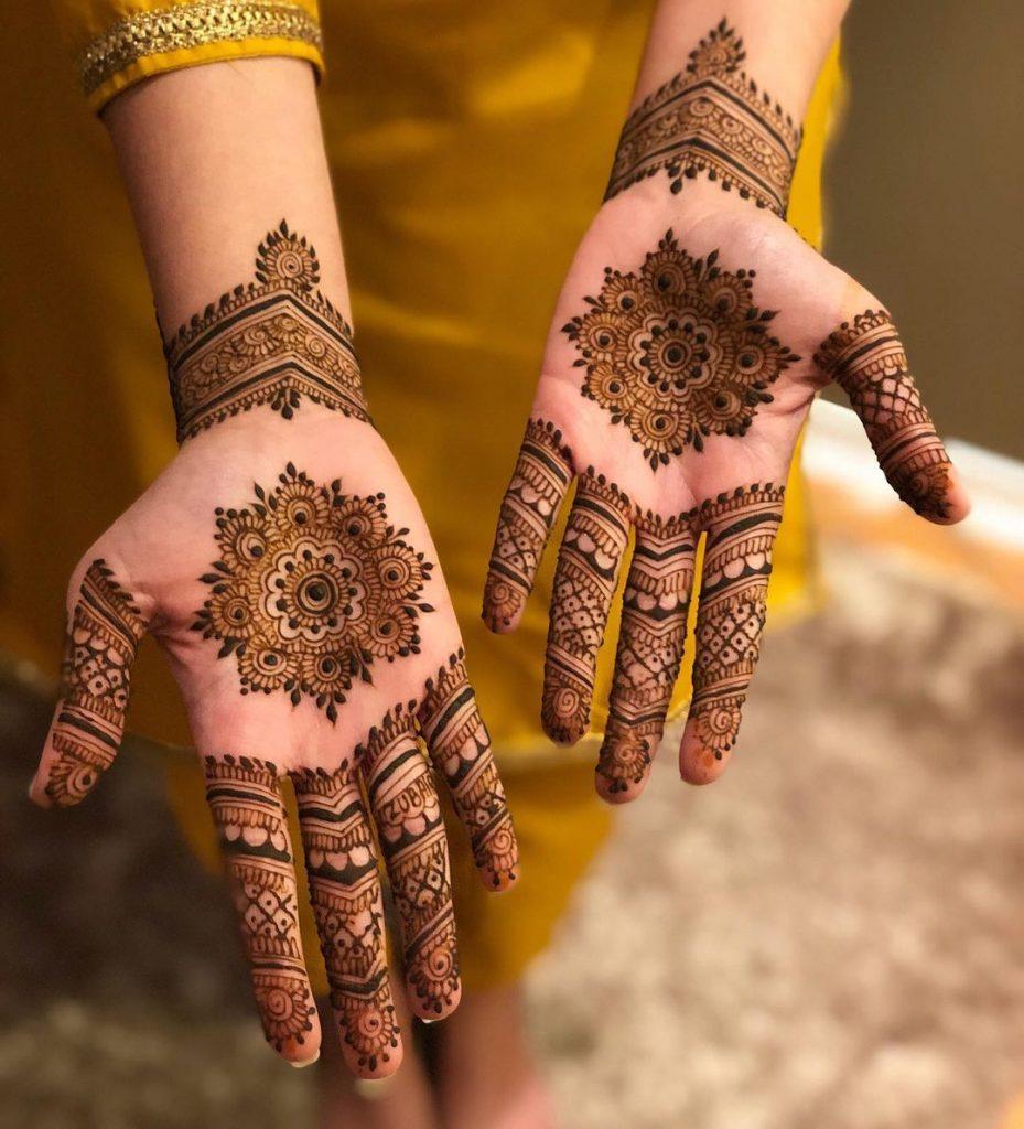 Intricate Mandala Design With Bracelet Mehendi For Front Hand
