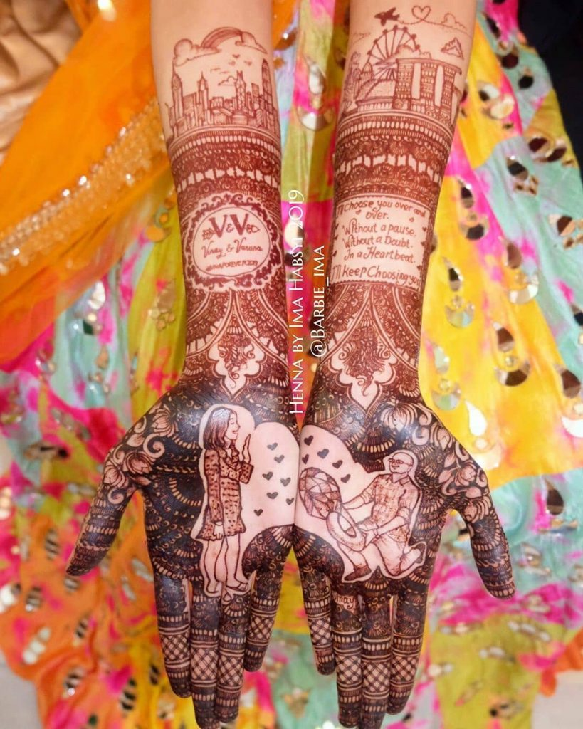 personalized front hand bridal mehndi with wedding vows