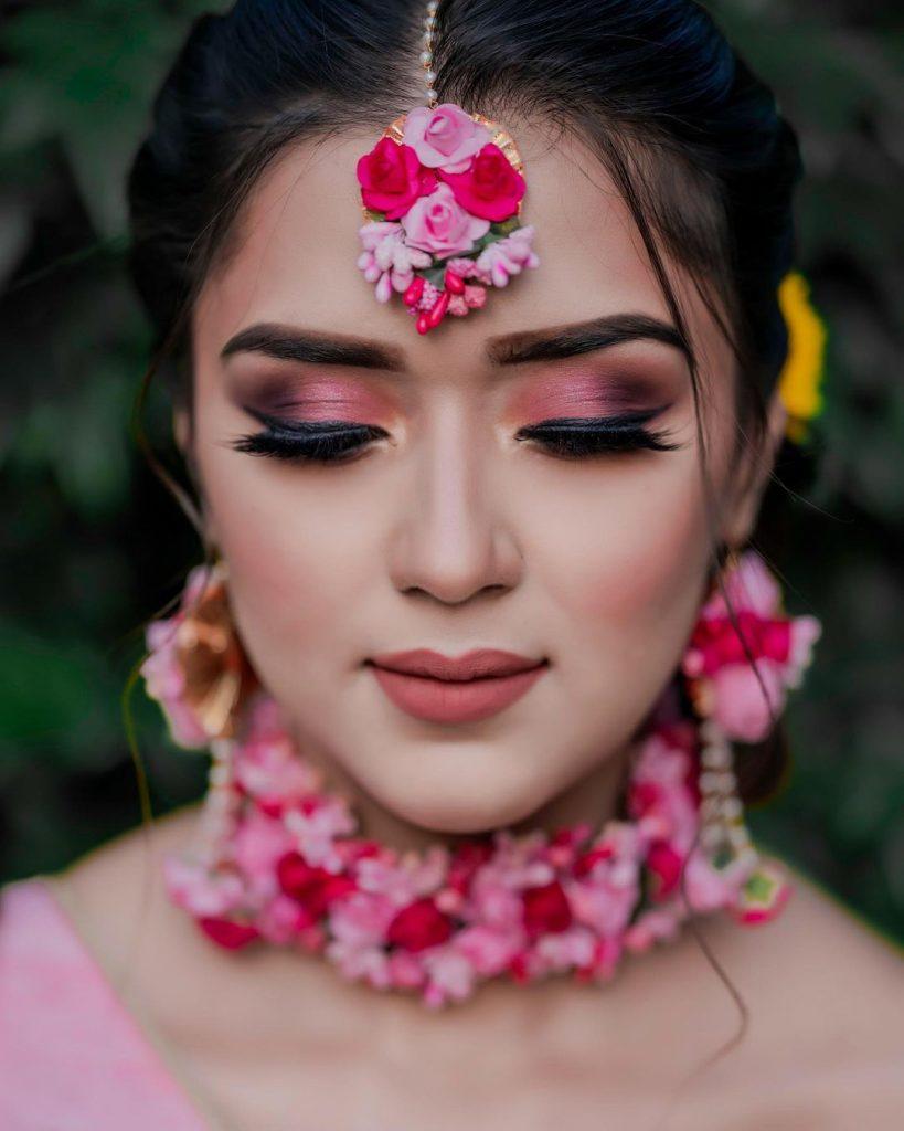 close up pic of bride's makeup