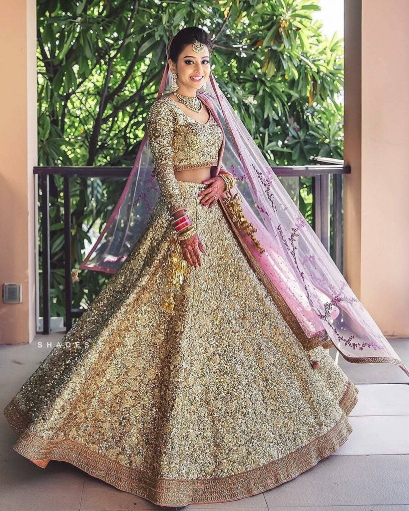 champagne gold bridal colour lehengas for wedding 2020
