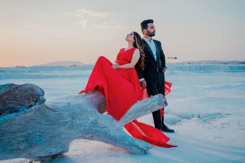 pre wedding shoot in snow