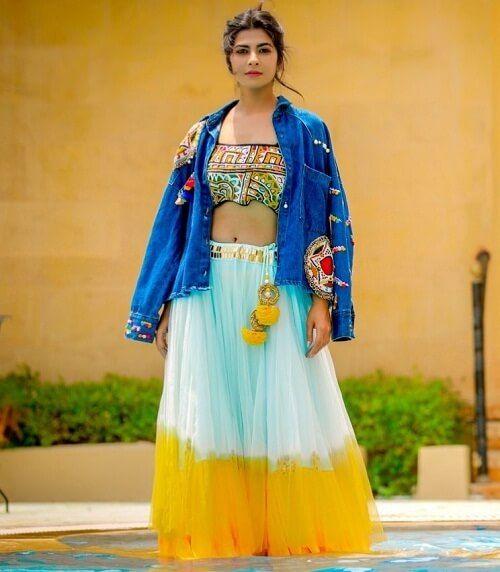 denim jacket style lehenga for your haldi ceremony