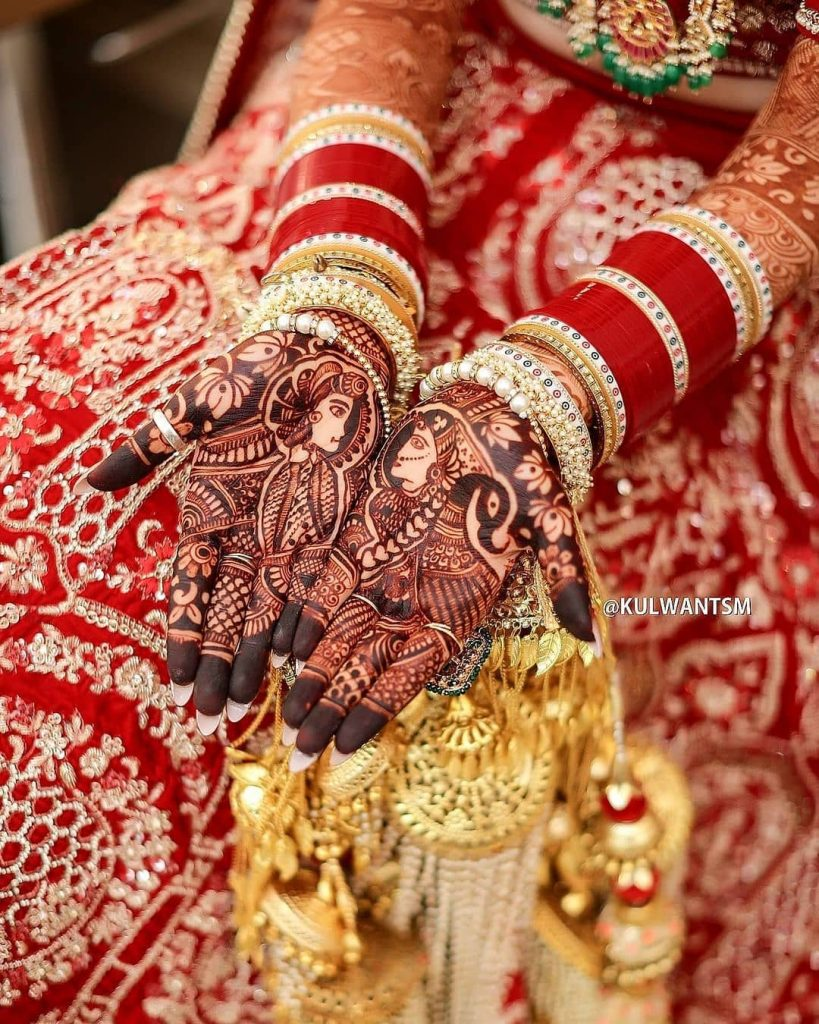bridal mehndi designs for full hands with dulha dulhan figurines