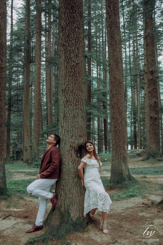 Romantic photoshoot in a forest