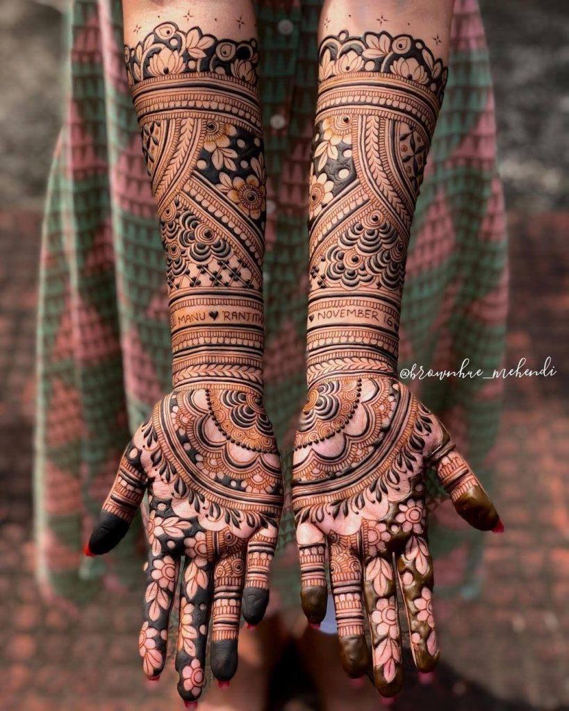 Fusion bridal mehndi design for front hands