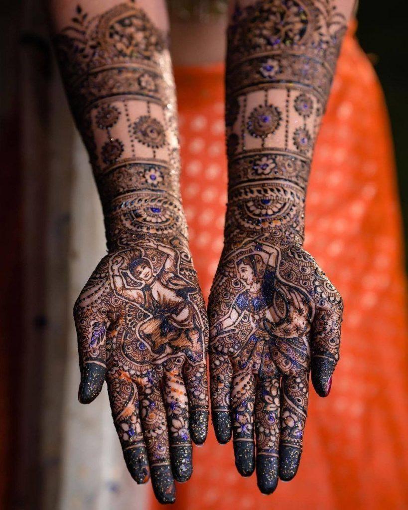 Glitter front hand mehendi design for bride of 2021