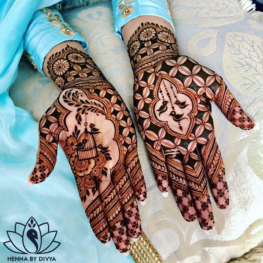 Front Hand Bridal Mehndi Design With Bird Motifs