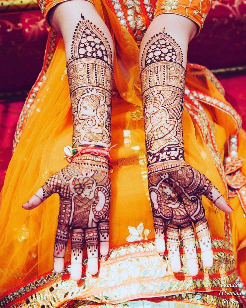 Ganesh motif bridal front hand mehendi with varmala sequence