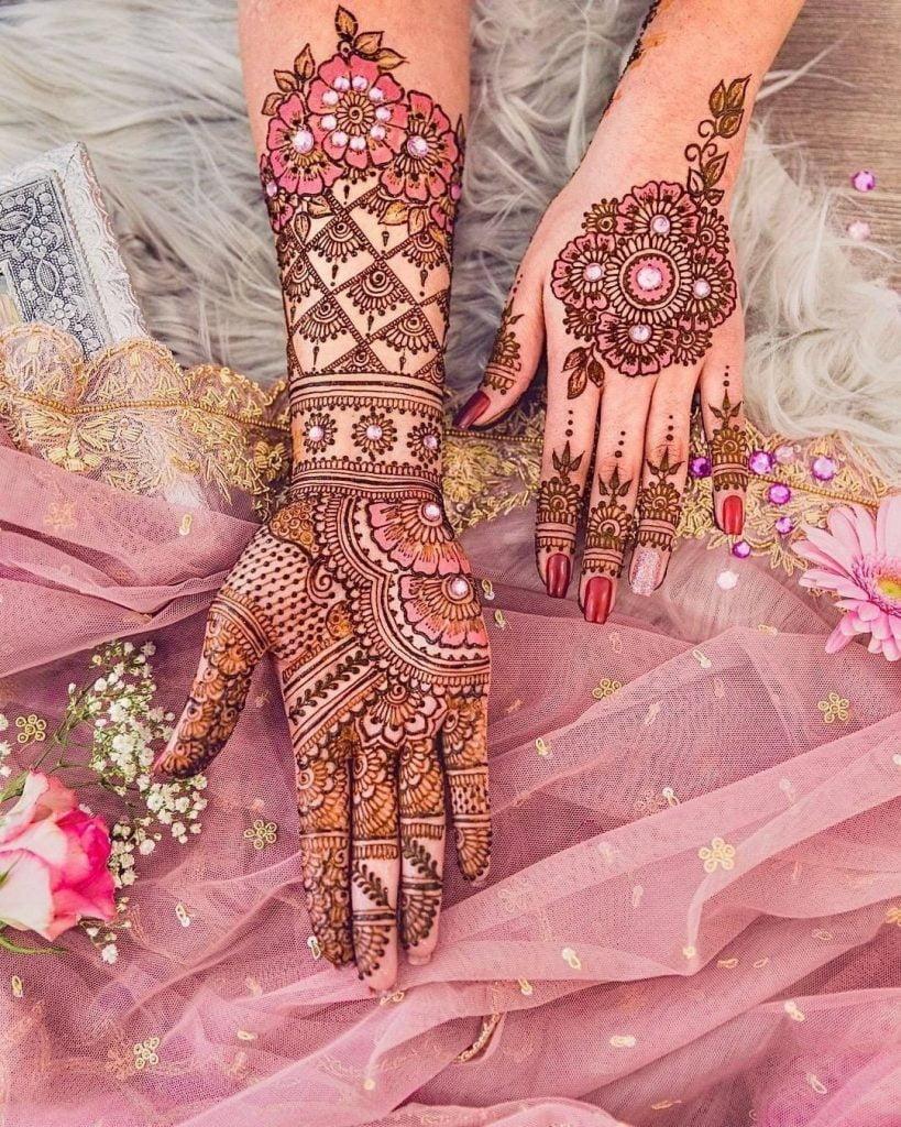 bridal mehndi design 2021 with stone decoration
