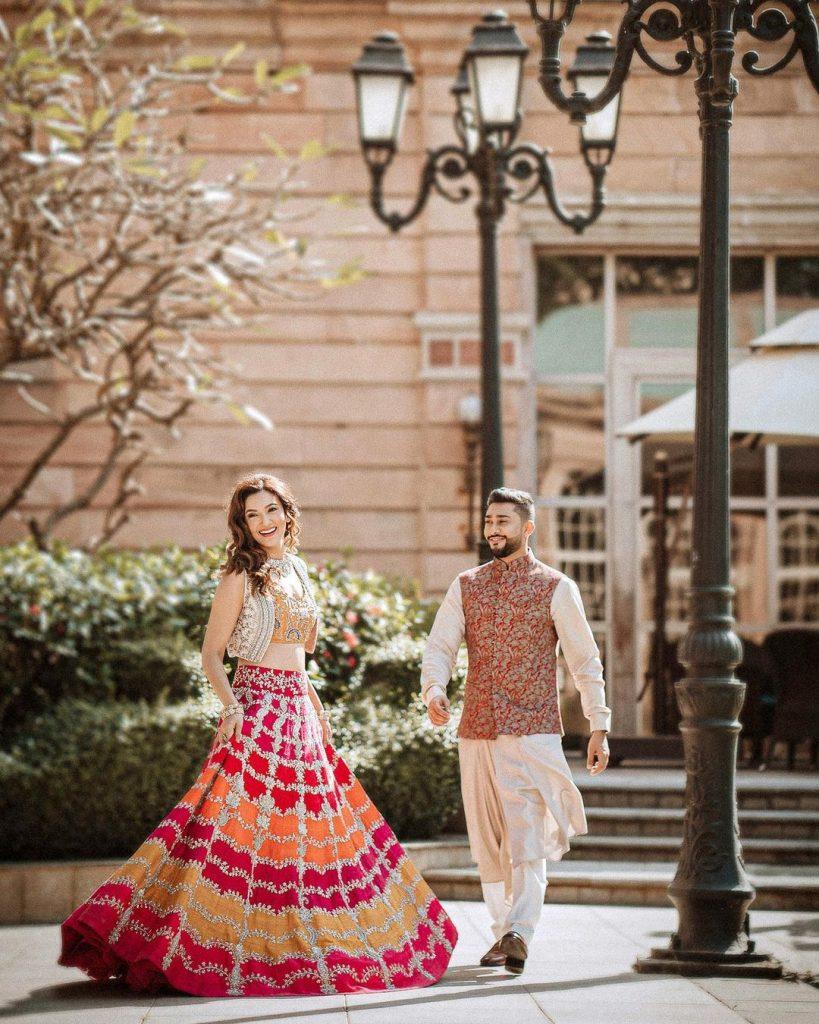 gauhar khan short jacket style lehenga image