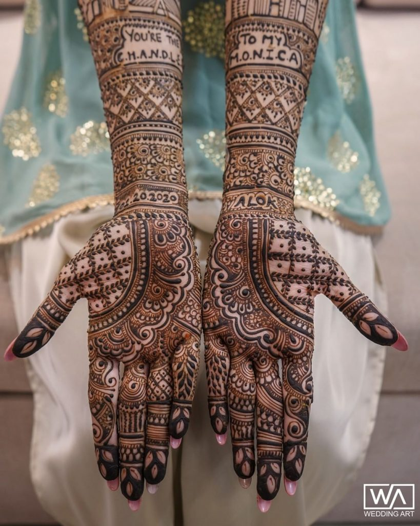 bridal mehndi design 2020 full hand personalised with quotes and hashtags