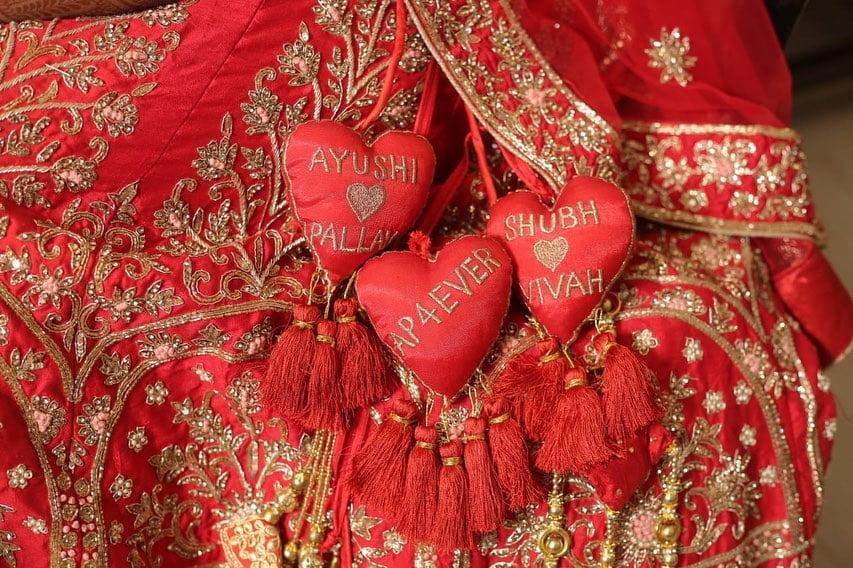Classic red heart lehenga latkan