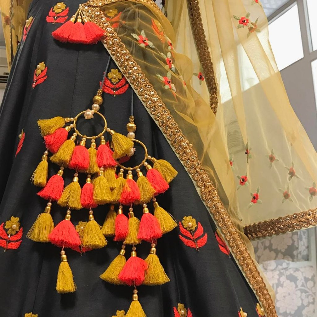 yellow and orange tasseled bridal latkan