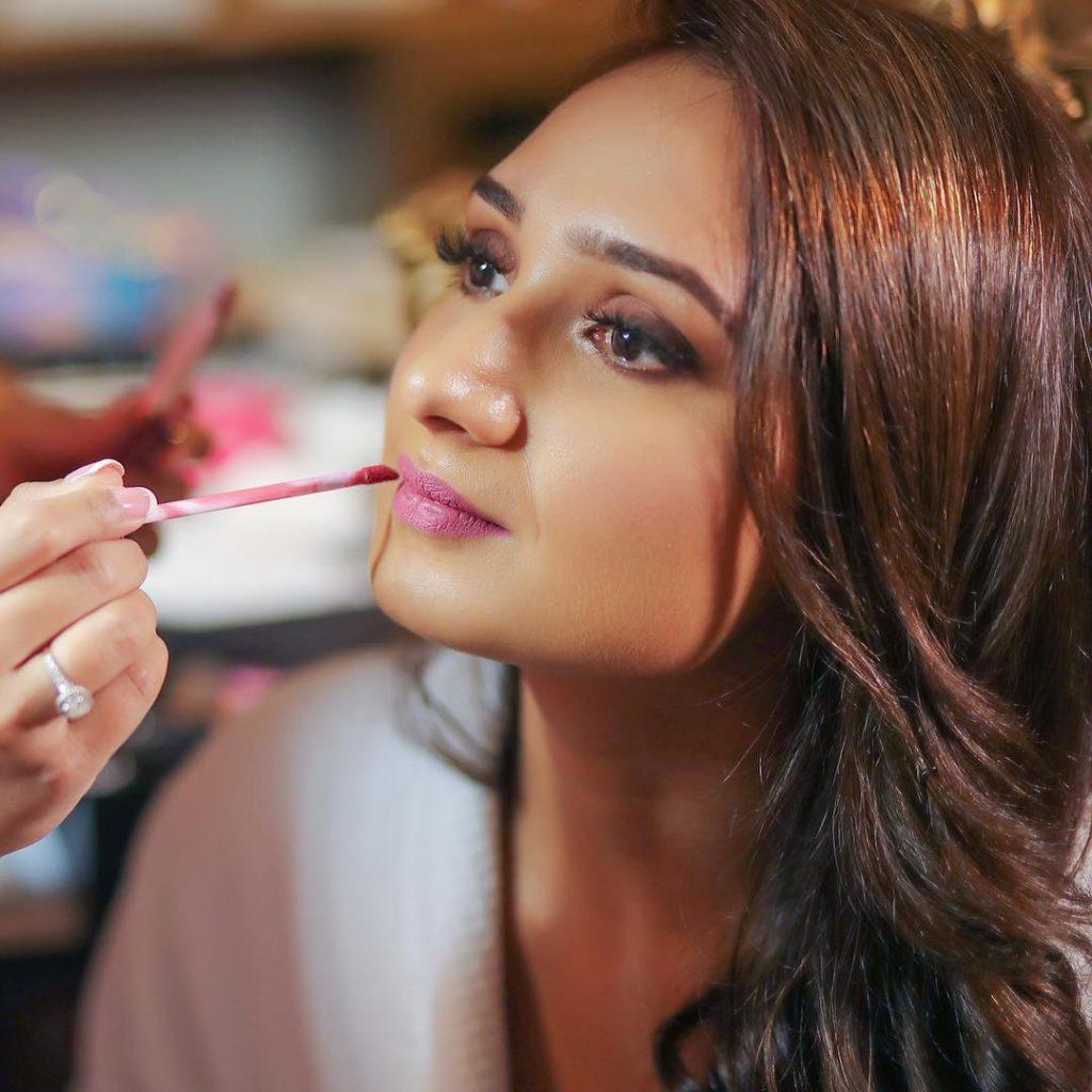 bridal makeup lipstick application