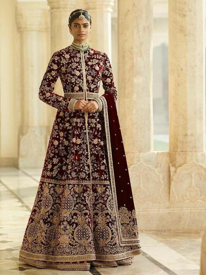velvet maroon heavy lehenga with coat