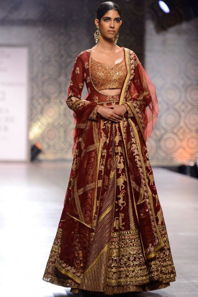 marsala gold bridal lehenga colour combinations 2020