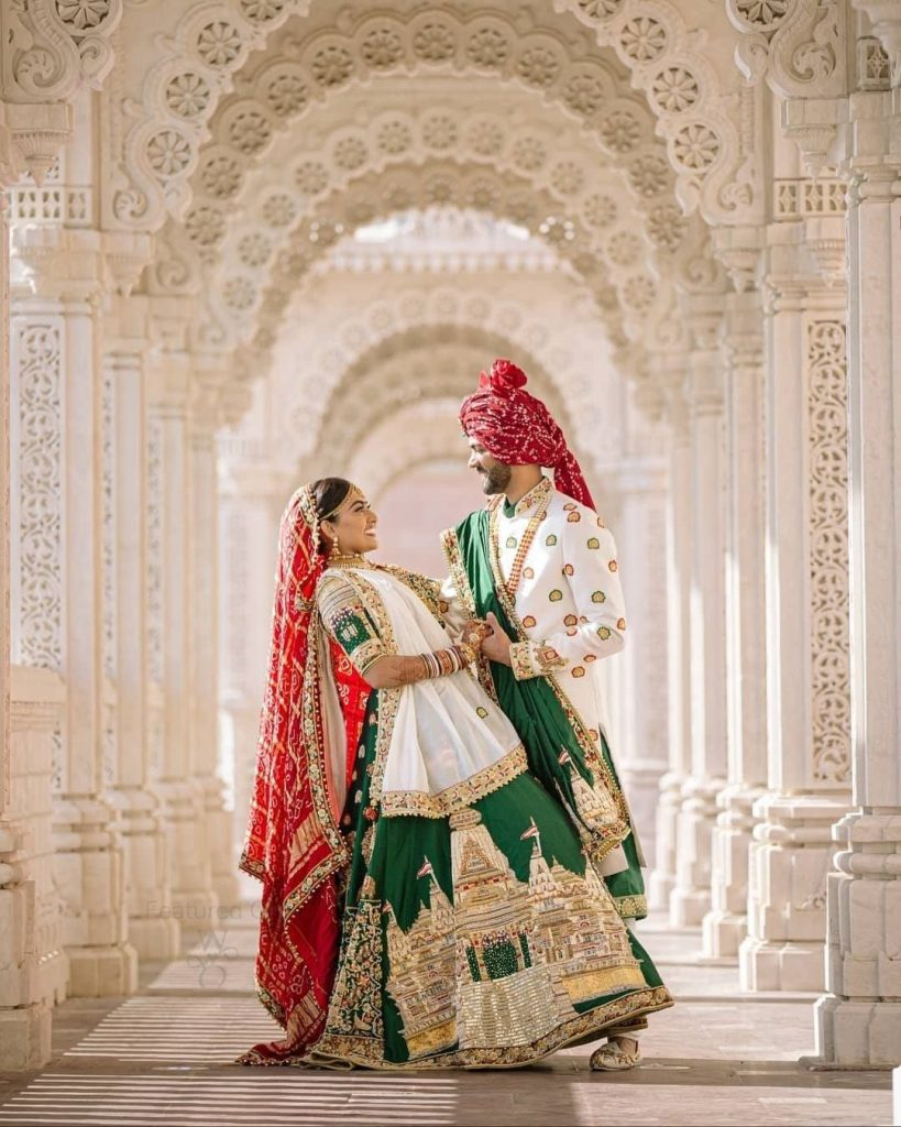 green and red colour combinations lehenga trends