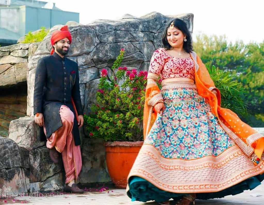 multicolored blue red and orange lehenga combinations