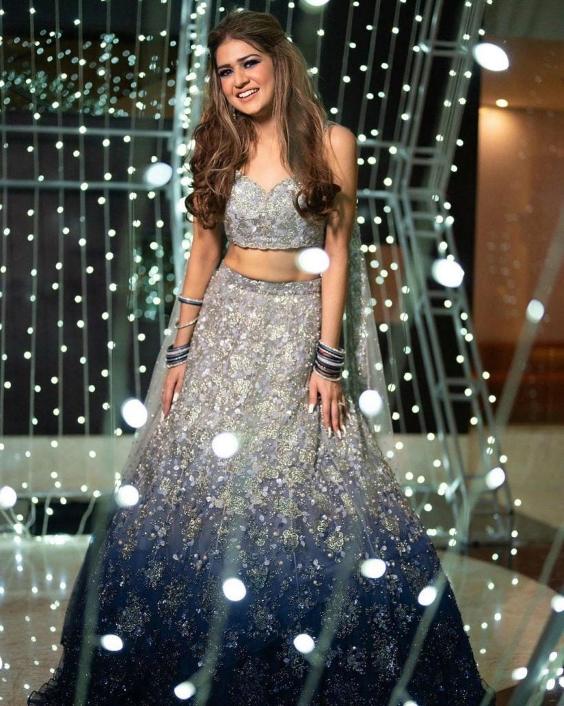 silver blue ombre lehenga styles