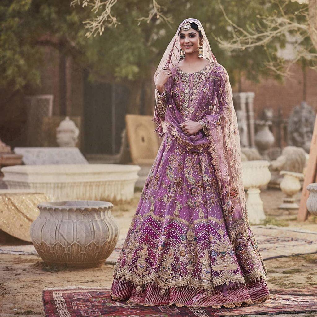 onion pink bridal lehenga dress with jacket