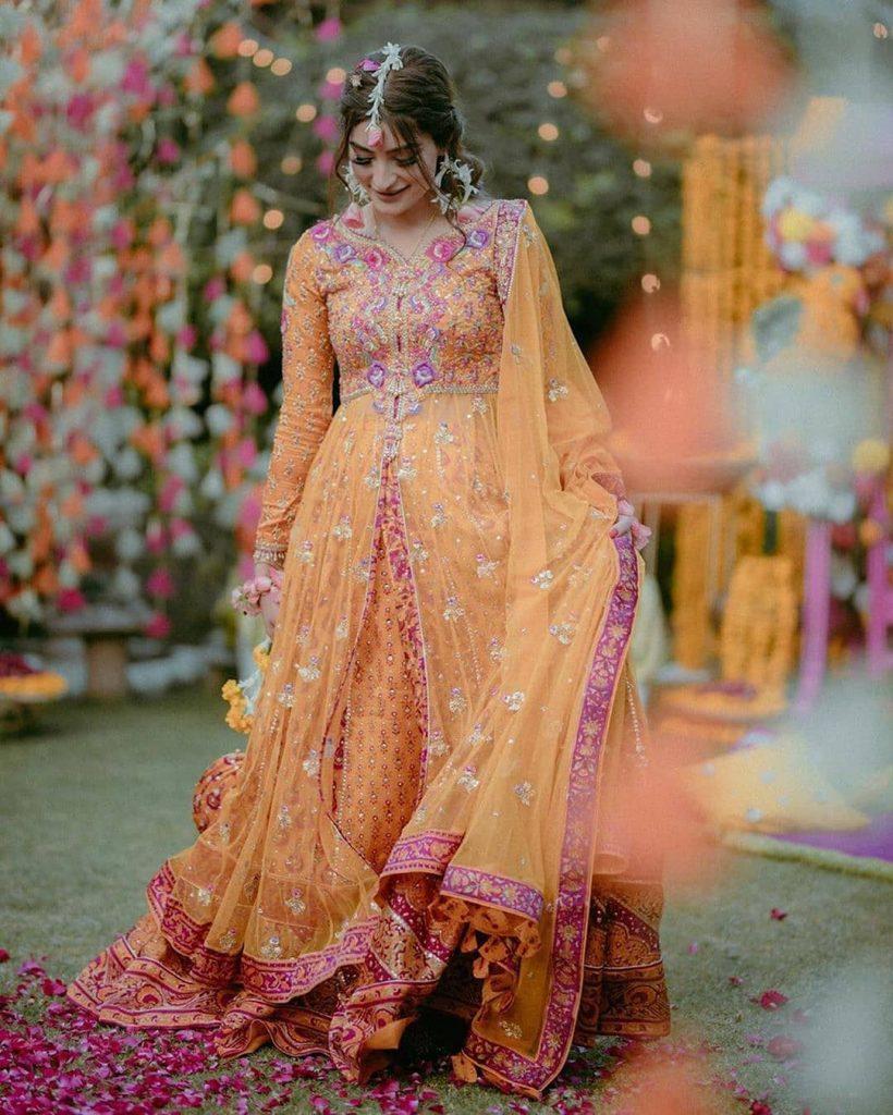 orange and pink designer lehenga with long net jacket