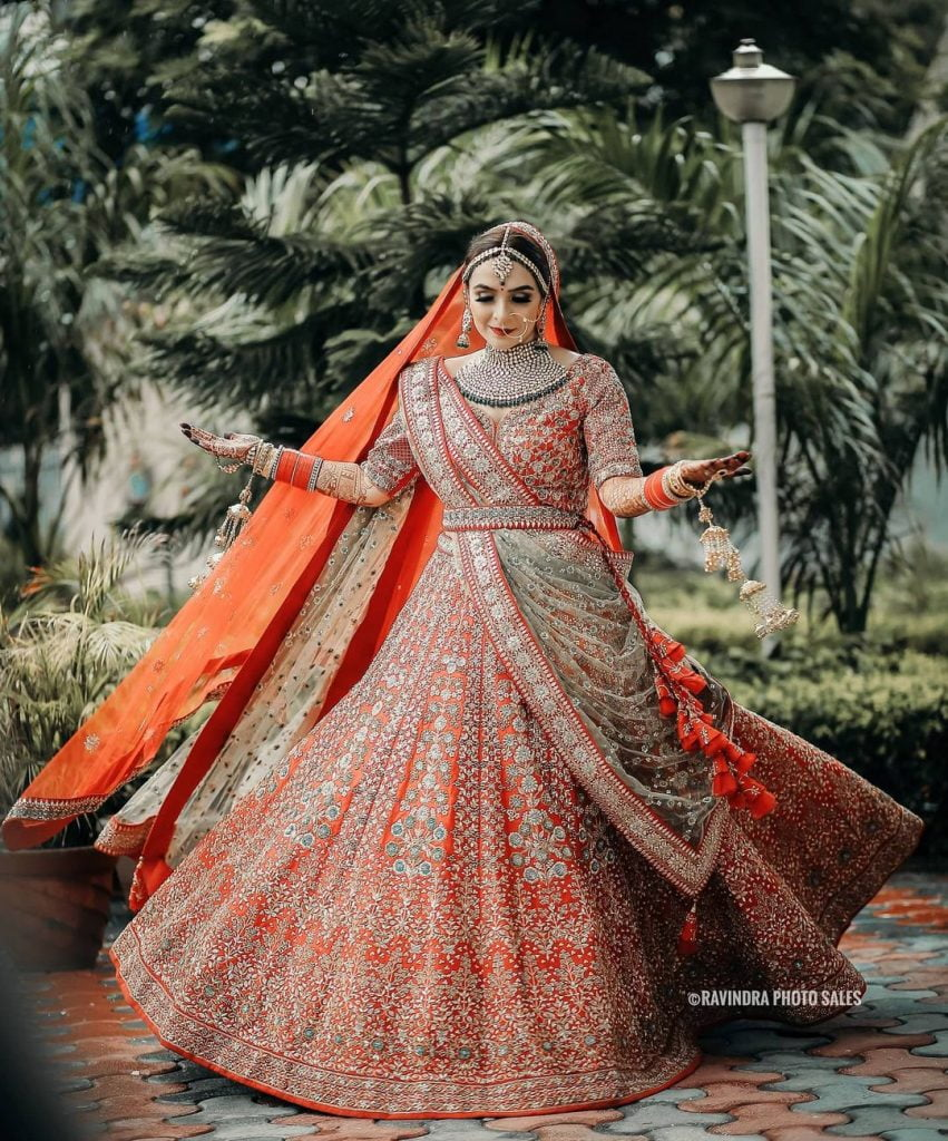 orange and green best lehenga combinations colors for wedding