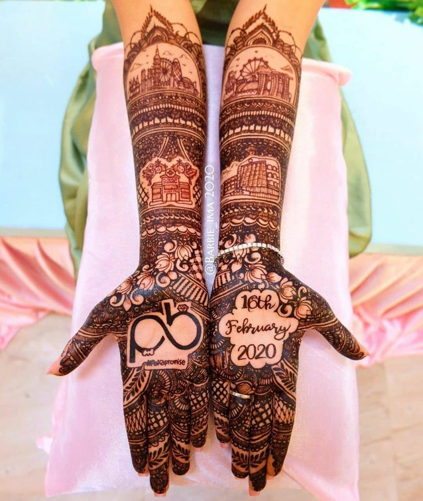 personalized front hand mehendi with wedding date