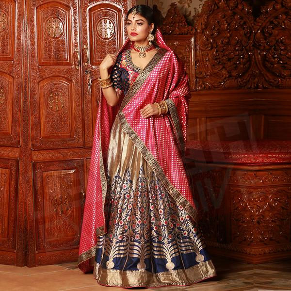 Keya seth gold and pink lehenga combination with blue blouse bridal lehenga images