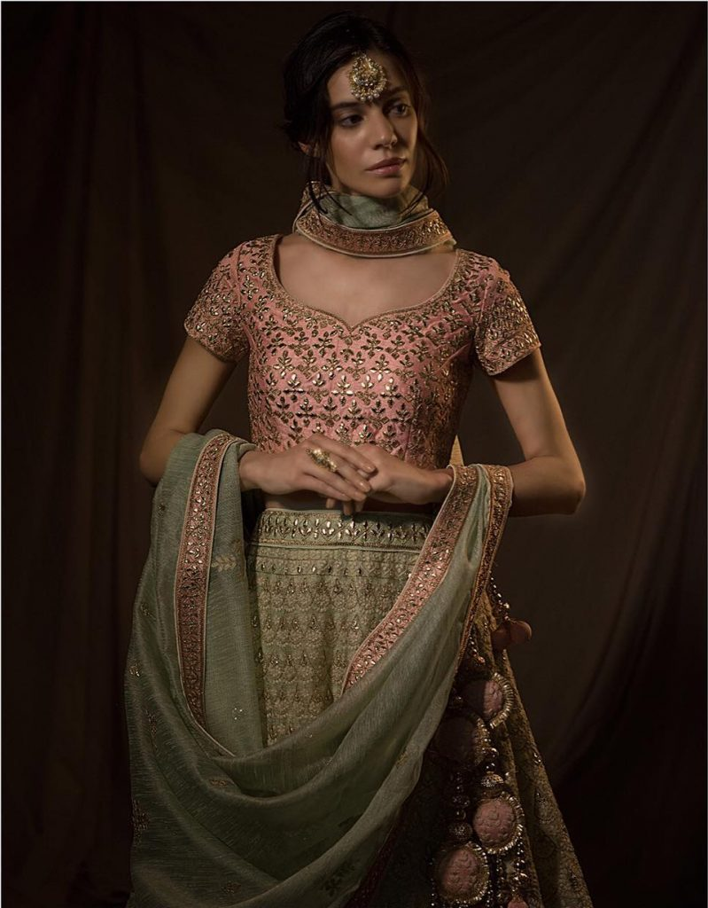 pista and pink lehenga colour combinations