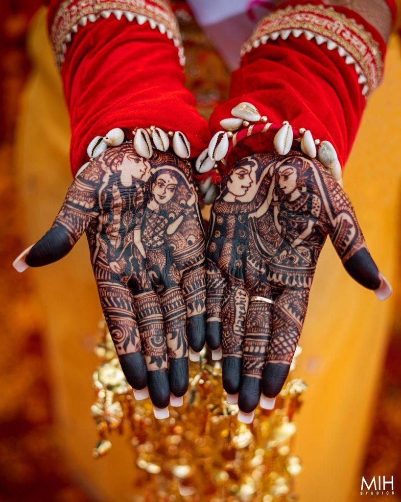 sindur daan ritual on bridal mehndi design