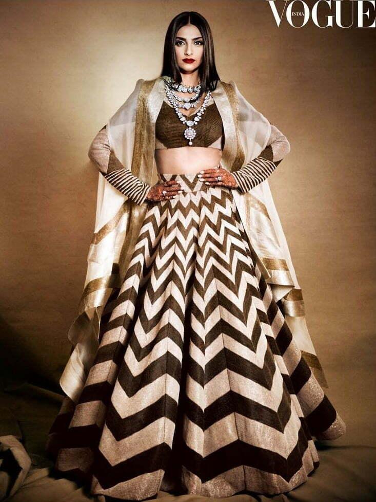 sonam kapoor kaftan jacket with lehenga