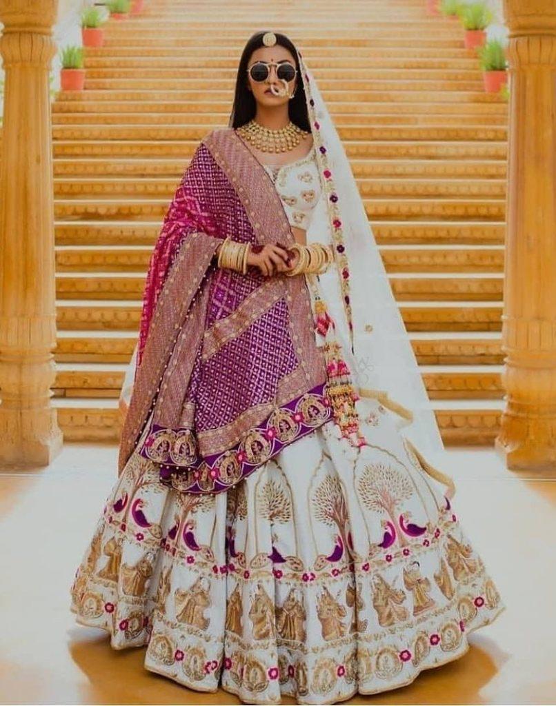 white combinations latest bridal lehenga designs 2020