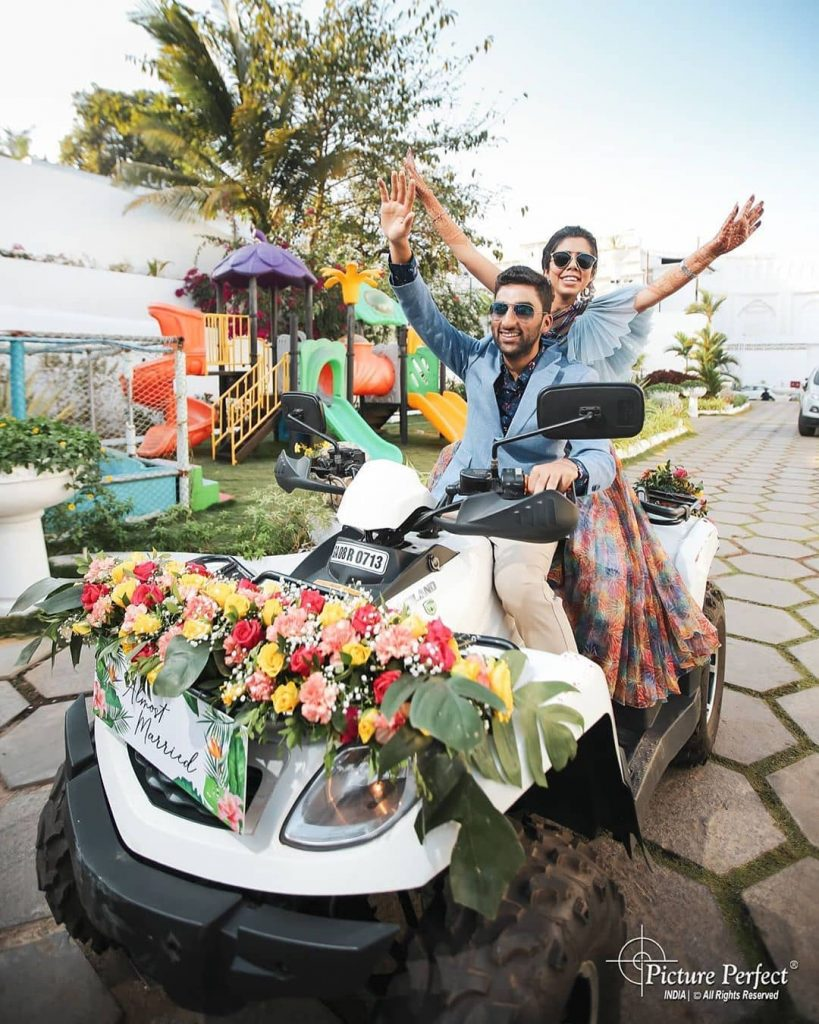 ATV Floral Bike bride and groom entry ideas