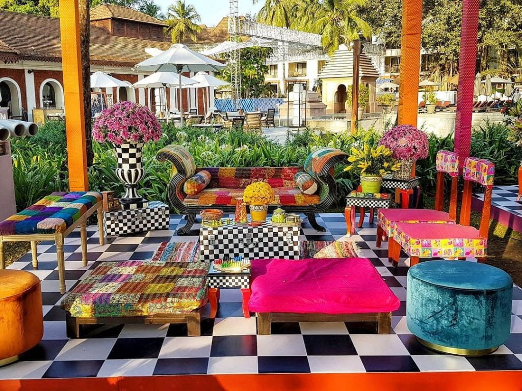 traditional prints seating arrangement decorated with flowers
