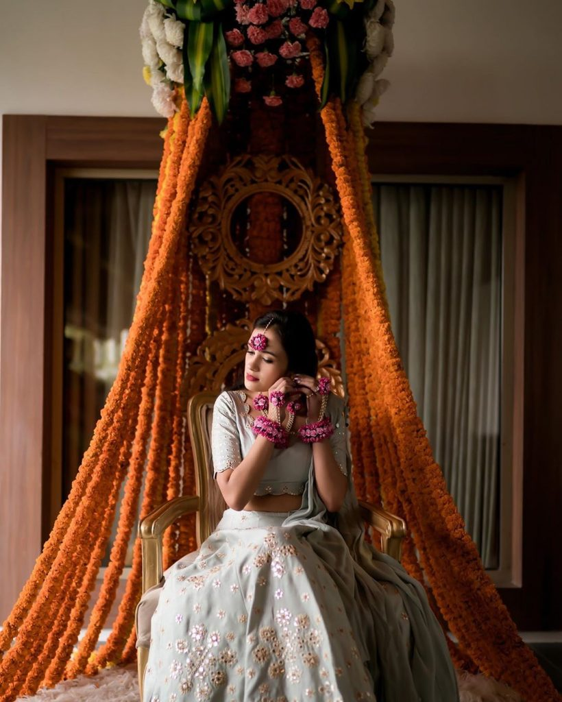 Marigold seating arrangement for the bride