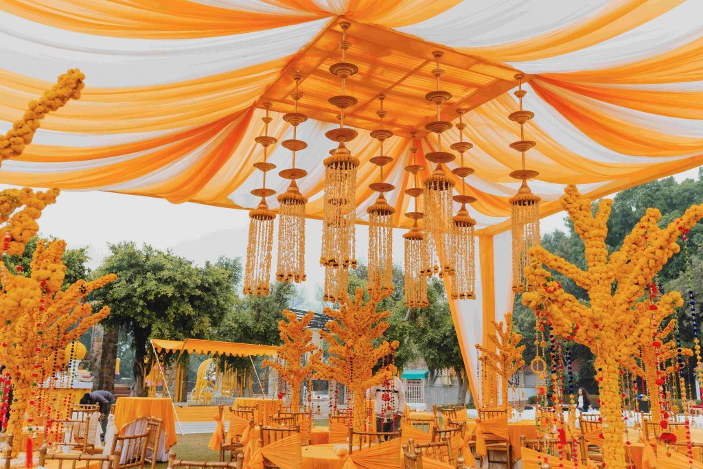 Marigold decor for mehndi