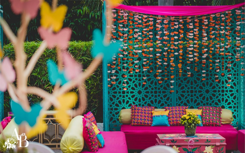 Pink and Blue décor with floral seating decoration