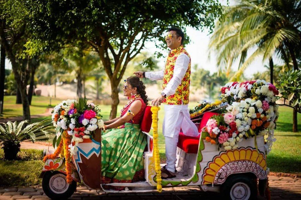 auto rickshaw bride and groom entry ideas